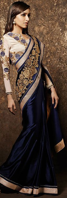 USD 55.26 Shraddha Kapoor Royal Blue Pure Satin Bollywood Saree 42971