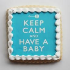 Blue Keep Calm and Have a Baby Cookie Favors