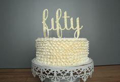 Cake Topper : Fifty 50 Gold Glitter by CMSDesignStudio on Etsy