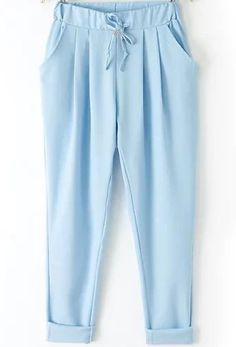 To find out about the Blue Elastic Drawstring Waist Pockets Pant at SHEIN, part of our latest Pants ready to shop online today! Girls Fashion Clothes, Fashion Pants, Fashion Outfits, Linen Pants Women, Pants For Women, Light Blue Pants, Sleeves Designs For Dresses, Stylish Dress Designs, Kurti Designs Party Wear