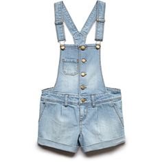 FOREVER 21 GIRLS Buttoned Overall Shorts (Kids) (415 MXN) ❤ liked on Polyvore featuring shorts, overalls, kids, dresses and denim