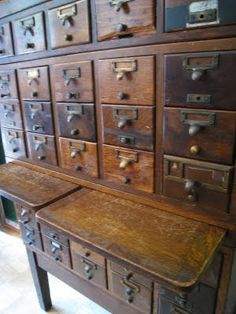 "Must have an antique card catalog for my library someday!"" -- Click-through has this old beauty plus lots and lots more card catalog finds (many already pinned on this board from other sources). Old Libraries, Antique Cabinets, Craft Storage, Seed Storage, Industrial Chic, Cubbies, Antique Furniture, Vintage Antiques, Catalog"