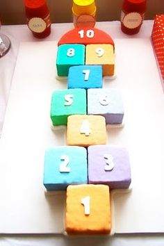 Here's the hopscotch cake that goes with the invitation. What a cute idea.