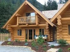 Log Cabin Home  Love the deck on the second floor