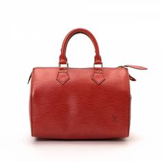 e3d77c883f93 LXRandCo guarantees this is an authentic vintage Louis Vuitton Speedy 25  travel bag. This beautiful weekender was crafted in epi leather in red.
