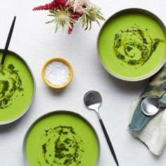Cold Pea Soup With Herbed Oil Swirl