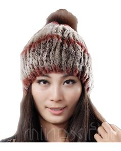 H652-autumn and winter  Women knitted warm  cap with fox pompom,brown/white/red  genuine rex rabbit hats with fur balls