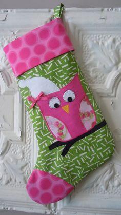 Applique'd Owl Girl Christmas Stocking in Green