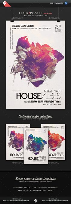 House Vibes - Party Flyer Artwork Template PSD. Download here: http://graphicriver.net/item/house-vibes-party-flyer-artwork-template/14932492?ref=ksioks