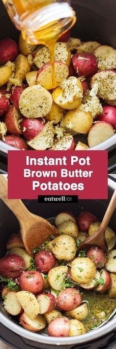 Instant Pot Garlic Brown Butter Potatoes — Ready in 7 minutes or less, the easiest and fastest potatoes you will ever make. Instant Pot Potatoes Recipe by paleo dinner instant pot Instant Pot Veggies, Instant Pot Potato Recipe, Instant Pot Dinner Recipes, Side Dish Recipes, Side Dishes, Pressure Cooking Recipes, Slow Cooker Recipes, Crockpot Recipes, Healthy Recipes