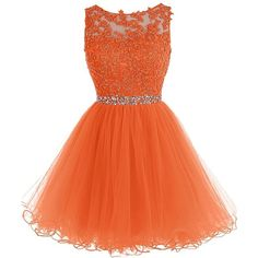 Tideclothes Short Beaded Prom Dress Tulle Applique Evening Dress ($88) ❤ liked on Polyvore featuring dresses, orange prom dresses, beaded cocktail dress, short dresses, prom dresses and tulle prom dresses