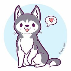 Cute chibi, husky drawing, cute dog drawing, cute animal drawings, kawaii d Cute Kawaii Animals, Cute Animal Drawings Kawaii, Kawaii Art, Cute Baby Animals, Cute Drawings, Kawaii Chibi, Cute Animals To Draw, Drawing Animals, Anime Chibi