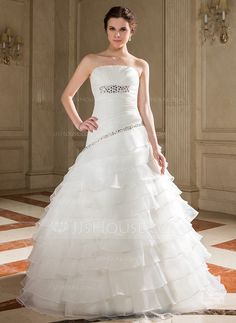 Wedding Dresses - $208.99 - A-Line/Princess Strapless Floor-Length Organza Wedding Dress With Beading Sequins Cascading Ruffles (002001288) http://jjshouse.com/A-Line-Princess-Strapless-Floor-Length-Organza-Wedding-Dress-With-Beading-Sequins-Cascading-Ruffles-002001288-g1288