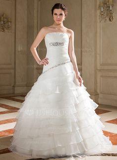 Wedding Dresses - $208.99 - A-Line/Princess Strapless Floor-Length Organza Wedding Dress With Beading Sequins Cascading Ruffles (002001288) http://jjshouse.com/A-Line-Princess-Strapless-Floor-Length-Organza-Wedding-Dress-With-Beading-Sequins-Cascading-Ruffles-002001288-g1288