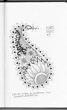 Flower Paisley #3, Shaded, Day 18 #30DoC | Wendy Designs  wendyest.blogspot.com