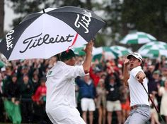 Adam Schoot high fiving his caddy after his Master's 2013 win - This is incredibly cute and funny!!! I had to pin. :)