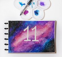Fan art to Stranger Things Eleven (11) Galaxy/Universe Dr. Ph Martin Canson watercolor paper Cotman Winsor and newton