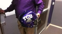 TCU will wear purple chrome helmets this weekend (@FollowtheFrogs)