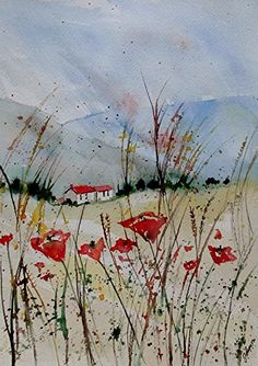 """Original Watercolor Painting- """"A Poppy Field"""". Medium: Sennelier watercolor paints Size: 9"""" x 12"""" Canvas: Arches 140 lb Cold-press paper. Acid-Free This painting is signed on front by artist. It will be wrapped in cello wrap and comes shipped to you in a 100% recycled envelope. Thank you for looking today and please contact me with any questions."""