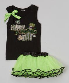 Look what I found on #zulily! Black 'St. Patricks Day' Tank & Tutu - Toddler & Girls by So Girly & Twirly #zulilyfinds
