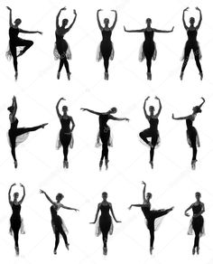 Set of different ballet poses. Black and white traces isolated on white.