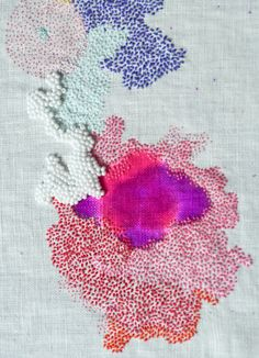 Embroidery by sabatina leccia studio, looks like some of the close up photos I've taken of flowers, fruits, etc. It would be interesting to work with threads to recreate texture