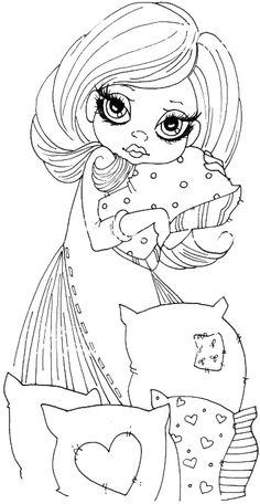 Springtime by freida Blank Coloring Pages, Coloring Pages For Girls, Coloring Sheets, Coloring Books, Doodle Coloring, Copics, Digital Stamps, Big Eyes, Besties