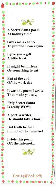 Secret Santa Poems, 10 Secret Santa Gifts, Secret Santa Gift Exchange, Christmas Gifts For Coworkers, Funny Christmas Gifts, Christmas Quotes, Christmas Humor, Christmas Crafts, Christmas Ideas