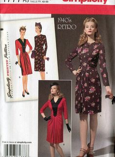 Simplicity 1777 Retro 1940's Shirred Dress Reproduction Old Store Stock Uncut by LanetzLivingPatterns on Etsy