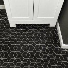 EliteTile Retro Rhombus x Porcelain Mosaic Tile Color: Matte Black Diy Bathroom, Flooring, Kitchen Flooring, Mosaic Tiles, Porcelain Mosaic Tile, Porcelain Tile, Tile Floor, Tile Bathroom, Merola Tile