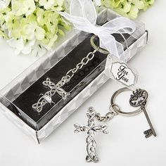 Delicate Intertwined metal cross key chain from Fashioncraft® Christening Favors, Baptism Party, Baptism Favors, Girl Christening, Baby Party, Michael Johnson, Diy Wedding Favors, Party Favors, Wedding Fun