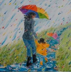 """x Mother Daughter in Rain """"Puddle Jumping No. Oil on Canvas Original Fine Art Palette Knife Painting Rain Painting, Palette Knife Painting, Art Et Illustration, Illustrations, Art Pictures, Art Images, Puddle Jumping, Original Paintings, Original Art"""