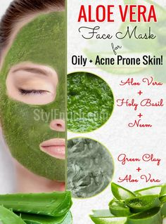 Aloe Vera Face Masks for Oily and Acne Prone Skin! Aloe Vera helps to keep your skin young, fresh, supple and blemish-free. We bring for you 4 fantastic aloe vera face masks for oily and acne prone skin. Face Mask For Pores, Diy Face Mask, Apple Cider Vinegar For Skin, Natural Acne Treatment, Skin Treatments, Aloe Vera Face Mask, Acne Remedies, Natural Remedies, Alternative Health