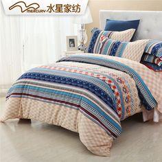 !MERCURY  Classic Mocha bedding set 4 pcs 100% cotton Gingham sanding printed bedding set bedsheet bed spread