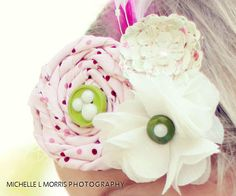 fabric rosette and flower clip