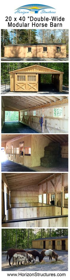 "This ""double-wide"" barn seems to be a trend as we're building more and more of them. It's basically a shedrow barn with an enclosed overhang. This one has been ""downsized"" for minis. Go to our Barn Finder page (https://www.horizonstructures.com/referral-rewards) and enter zip code 04090 for details."