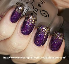 Deep purple nails with gold sparkles at the tips. Love this!