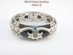 Hidalgo Diamonique Sterling Black Enamel Flower & Heart Band Ring Size 9 J153051 #Hidalgo #StackableBand