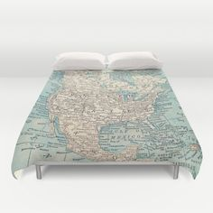 Map of North America Duvet Cover or Comforter  bold  by Mapology