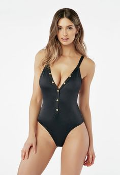 705a4863be613 Button Trim Swimsuit in Black - Get great deals at JustFab World Of  Fashion, Mens