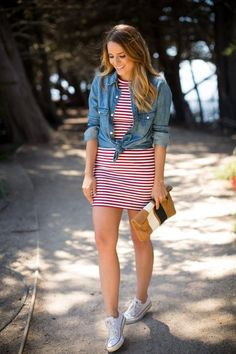 4th of July outfit idea: Gal Meets Glam in a red srtiped dress, chambray shirt, and sneakers