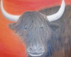 Original oil of Yak by Amy Botz