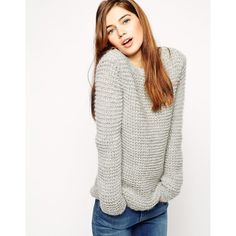 ASOS Sweater in Chunky Mohair Stitch ($41) ❤ liked on Polyvore featuring tops, sweaters, grey, grey sweater, grey crew neck sweater, crewneck sweater, chunky sweater and gray sweater
