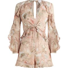 ZIMMERMANN Bowerbird Flounce Playsuit (€390) ❤ liked on Polyvore featuring jumpsuits, rompers, romper, dresses, playsuit, zimmermann, short sleeve jumpsuit, pink floral romper, ruffle rompers and short rompers