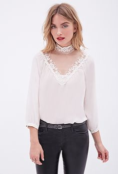 Lace-Paneled Blouse | Forever 21 - 2000120853