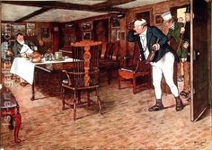 Mr Pickwick finds Mr Tupman having lunch at the Leather Bottle, Cobham (illustration to 'Pickwick Papers') - Cecil Charles Aldin The Young Victoria, Victoria Reign, Victorian Era, Victorian Fashion, Seaside Inn, The Pickwick Papers, Popular Paintings, Time Pictures, Paper Illustration