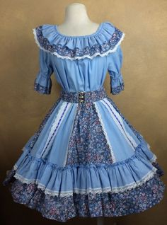 Square Dance Outfit Blue Western Ruffles Floral Lace Trimmed Skirt Belt Blouse #Unbranded