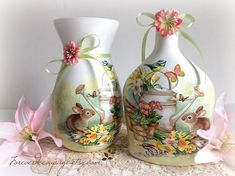 Painted and decoupaged bottle Spring decor bunny bird and