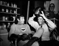 Batman - Behind the Scenes Van Williams (The Green Hornet) and Adam West (Batman)