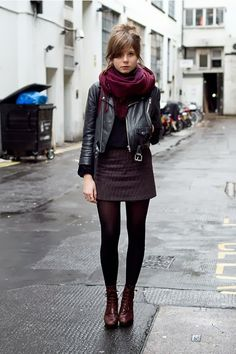 Fall Street Style With Leather Jacket and Cozy Scarf